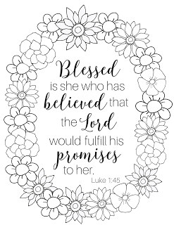 """Blessed is she"" Coloring Page 