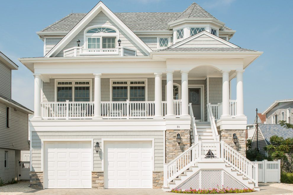 Beach House Exterior Traditional With Gray Roof Double Front