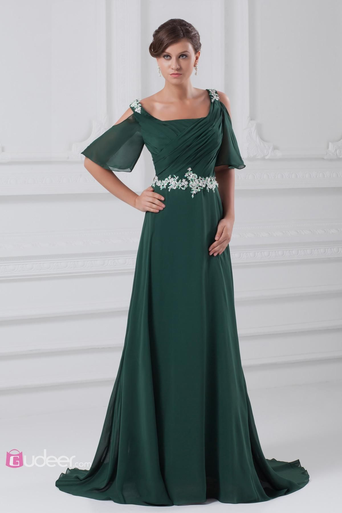 Dark Green Off-the-shoulder Prom Dress A-Line Long Gown with Short ...