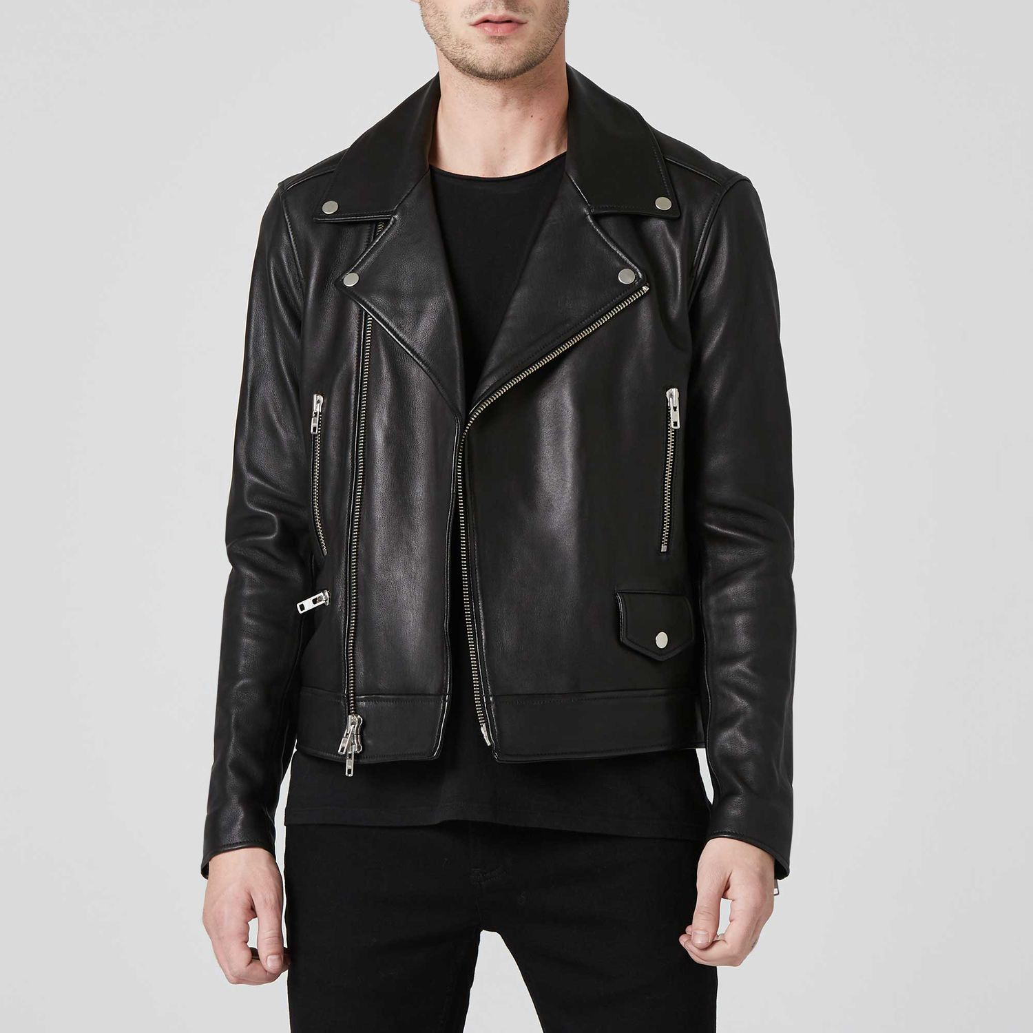 [Collection] Mens Leather Moto Jacket in Black Black