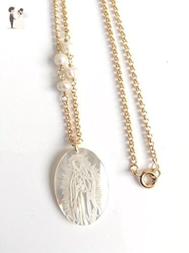 Our lady of guadalupe mother of pearl medal necklace virgin mary our lady of guadalupe mother of pearl medal necklace virgin mary pendant 18k gold plated aloadofball Choice Image