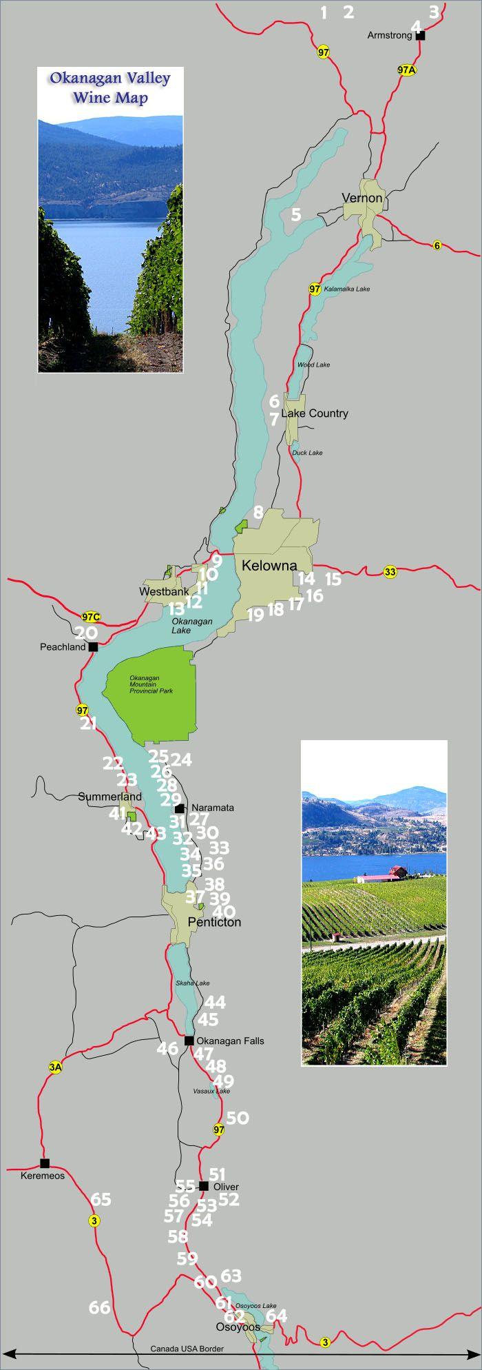 OKANAGANCOM  Okanagan Wine Map  Okanagan Wineries Wineries