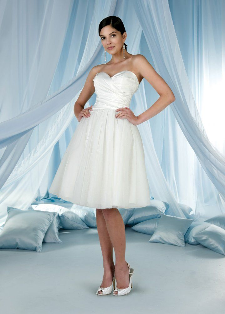 A-line Sweetheart Soft Ruched Bodice Tulle Skirt Tea-Length Wedding ...
