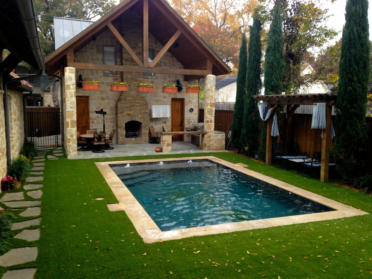 Artificial turf is suitable for any area and ideal for for Garden near pool