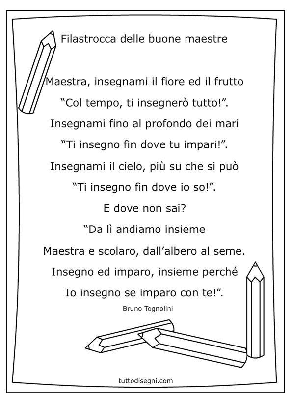 Filastrocca per le maestre da stampare e colorare poesie for Siti per maestre scuola infanzia