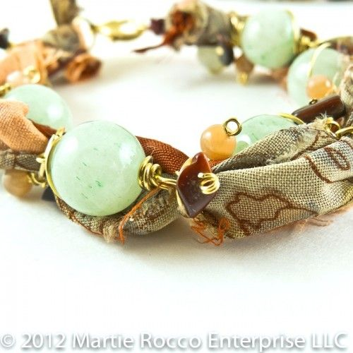 Green Aventurine charm bobble bracelet with sari ribbon. 12-118 | MartieRocco - Jewelry on ArtFire