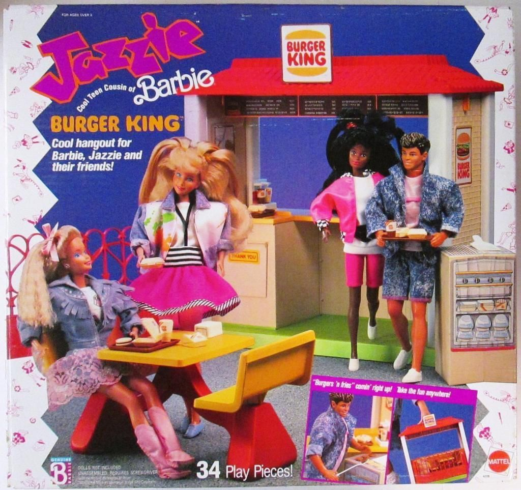 Jazzie, Teen Cousin of Barbie, Burger King Playset 1989 (New ...