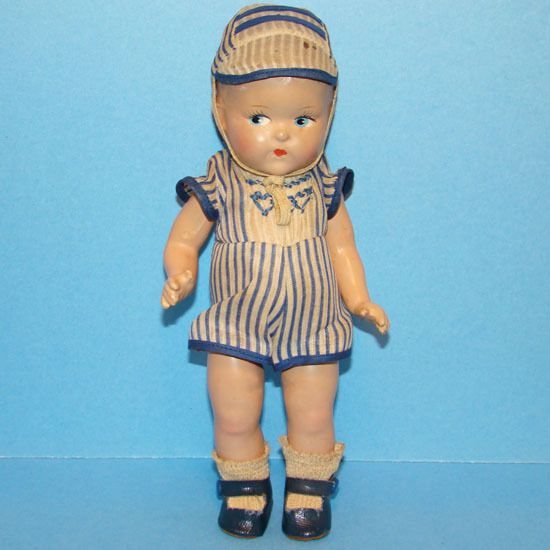 C1943 Vogue Ginny Toddles Doll Composition Boy in Original Playsuit