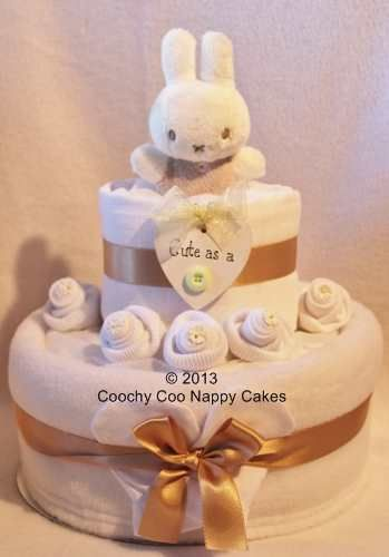 Cute as a Button 2 tier Miffy Nappy Cake by Coochy Coo Nappy Cakes
