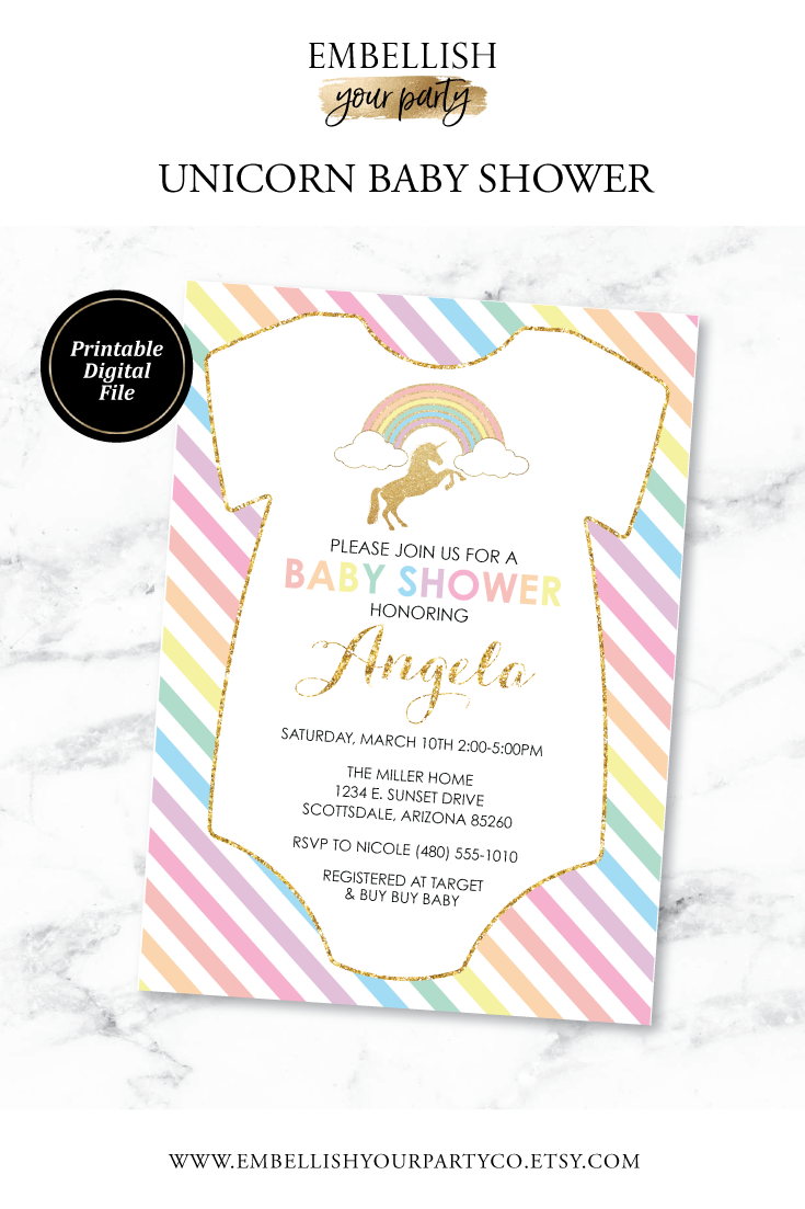 image about Printable Onesie Baby Shower Invitations identify Unicorn Kid Shower Invitation - Rainbow Little one Shower