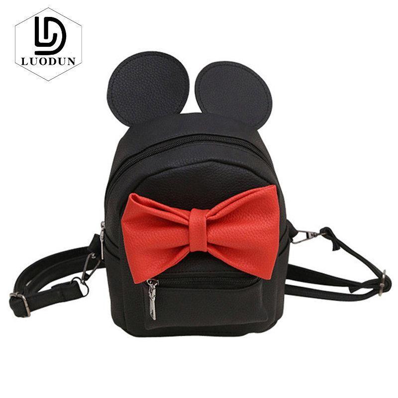 58520f18b70e LUODUN Mini Women Backpack New Mickey Bag PU Leather Fashion Girls  Backpacks Small Cute Hot Color Female Backpack Korean mochila.