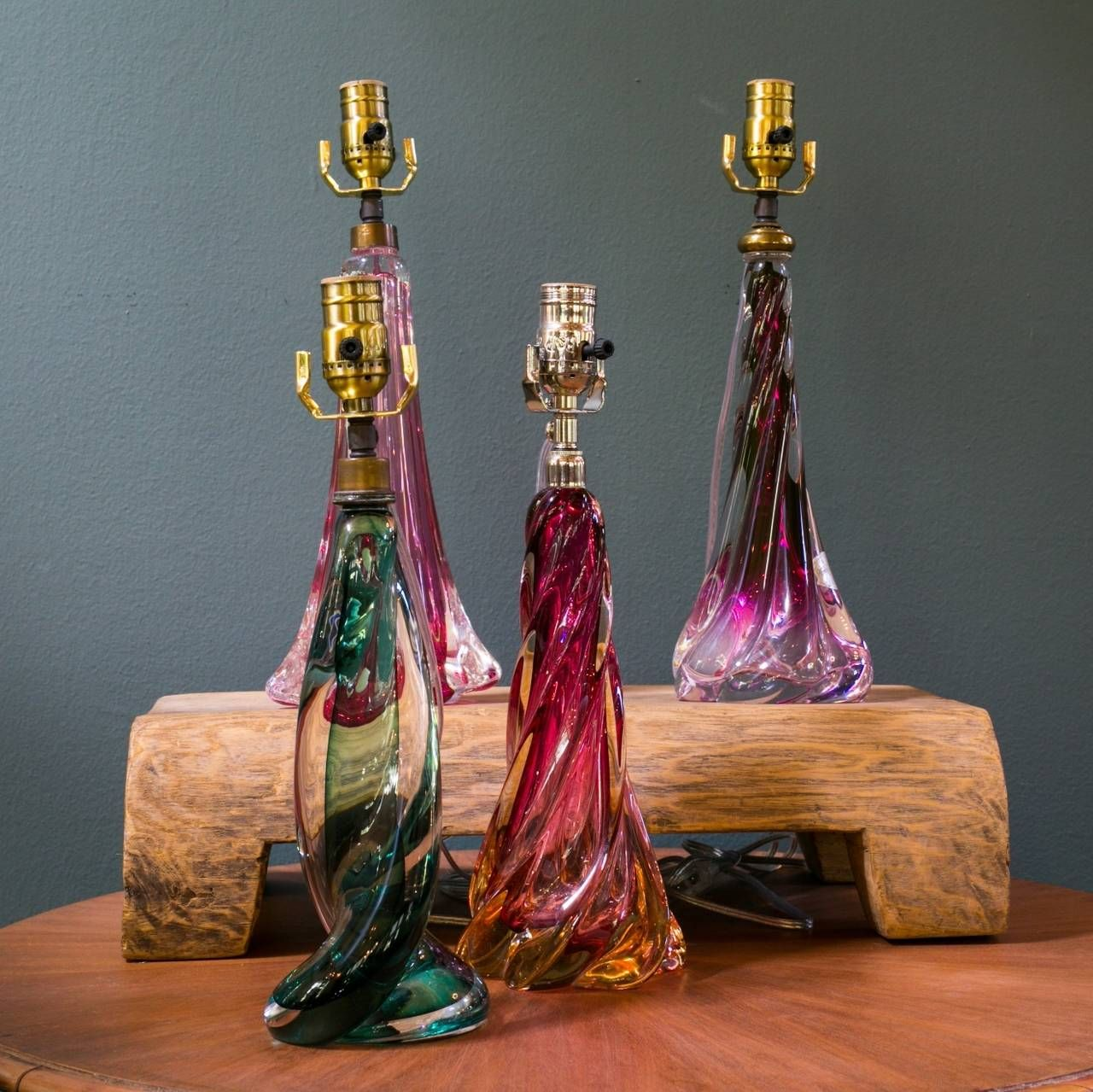 Epic Collection of Four Vintage Val St Lambert Table Lamps From a unique collection of