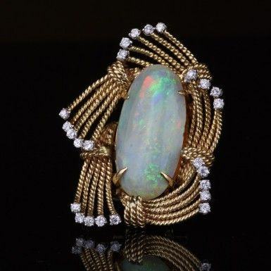 Vintage Pre-Owned Austrian Opal & Diamond Brooch  $3,495.00