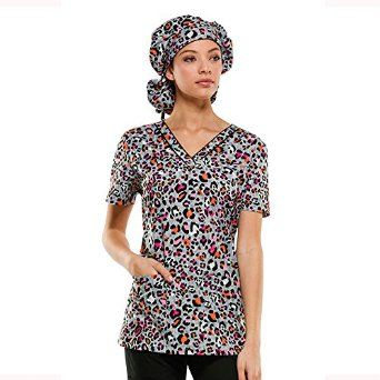 8ae497e7cc3 Amazon.com: Everyday Scrubs Signature By Dickies Women's V-Neck Animal  Print Scrub Top: Clothing