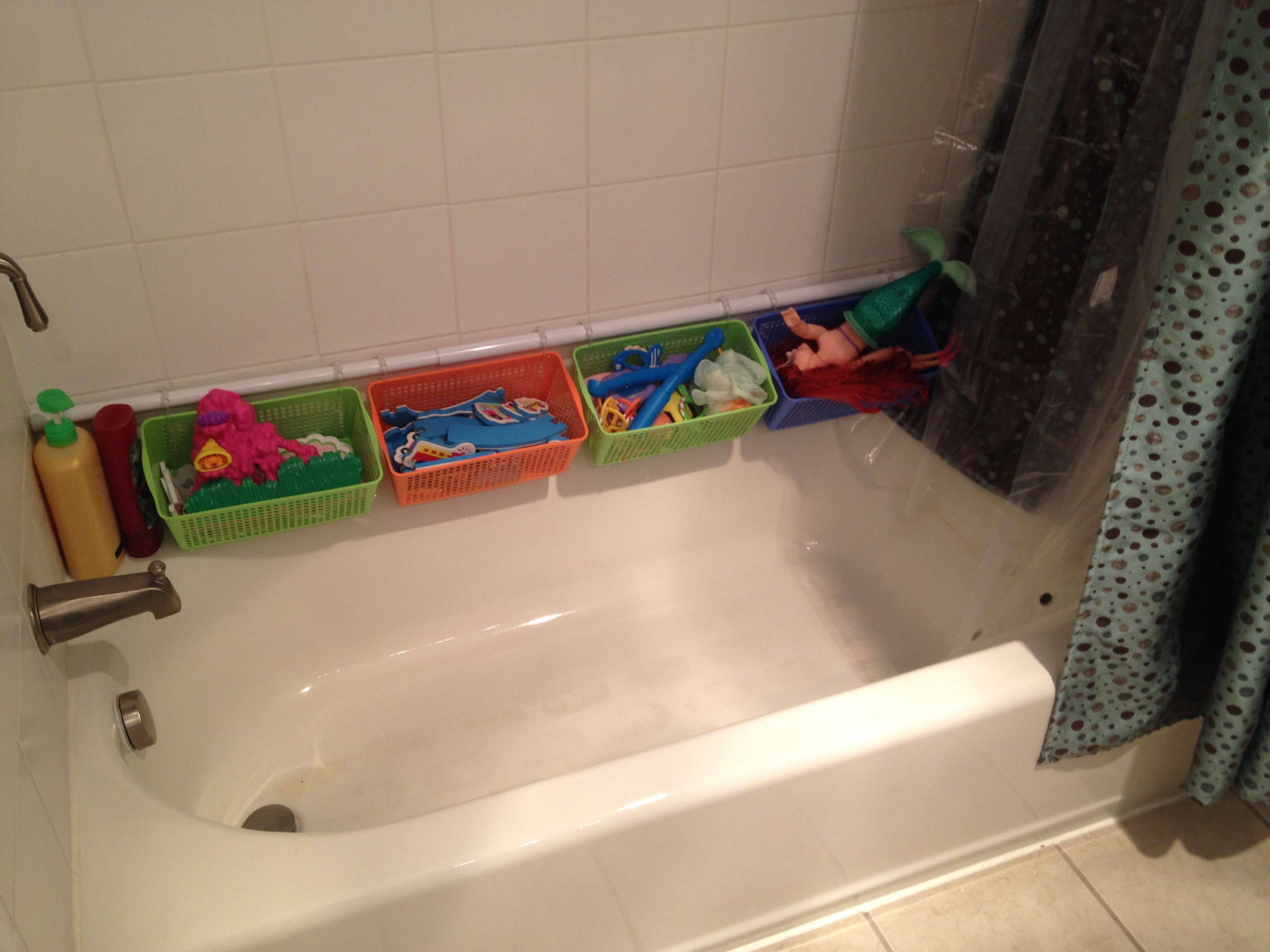 Bathroom Toys Storage Bath Toy Storage Shower Curtain Tension Rod Plastic Skinny