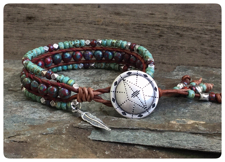 Southwestern style beaded leather wrap bracelet for women boho wrap
