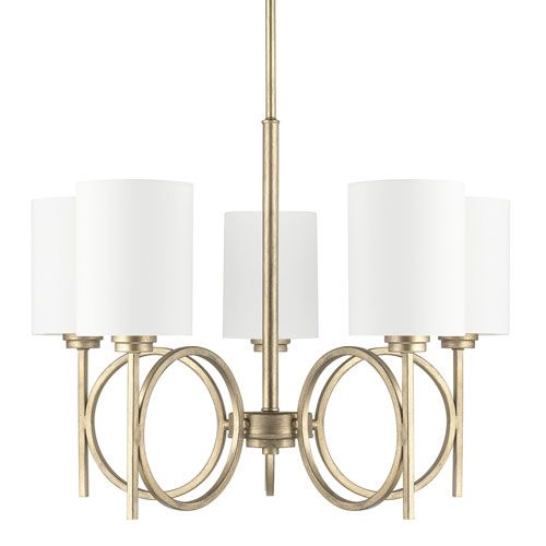 Capital lighting fixture company halo winter gold five light chandelier with fabric shade on sale