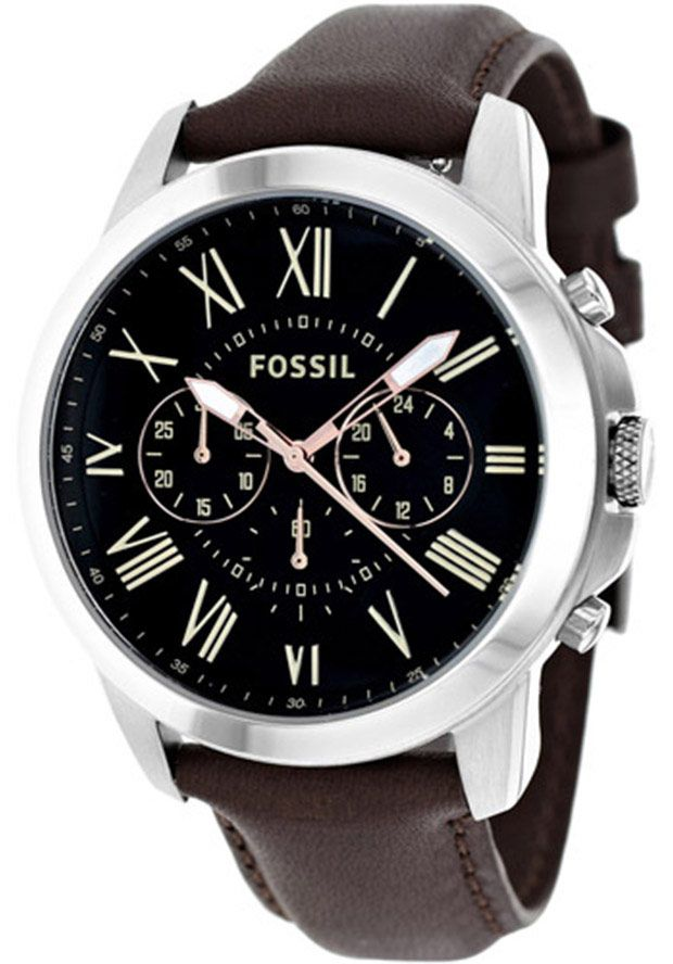 Fossil Men's Grant Brown Genuine Leather Black Dial - Watch FS4813,    #Fossil,    #FS4813,    #WatchesFashionQuartz