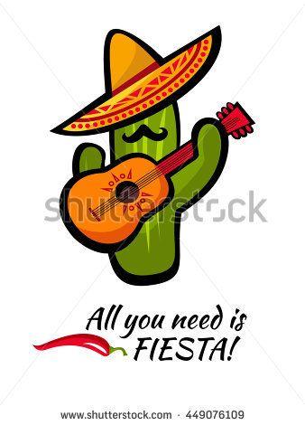 2fca796c97d Viva Mexico bright poster design with modern funny cactus with a guitar. Cinco  De Mayo Fiesta ad