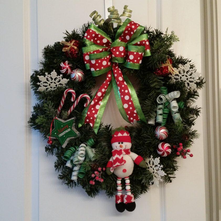 Artificial Christmas Wreath, Whimsical, Cute snowman, Snowflakes