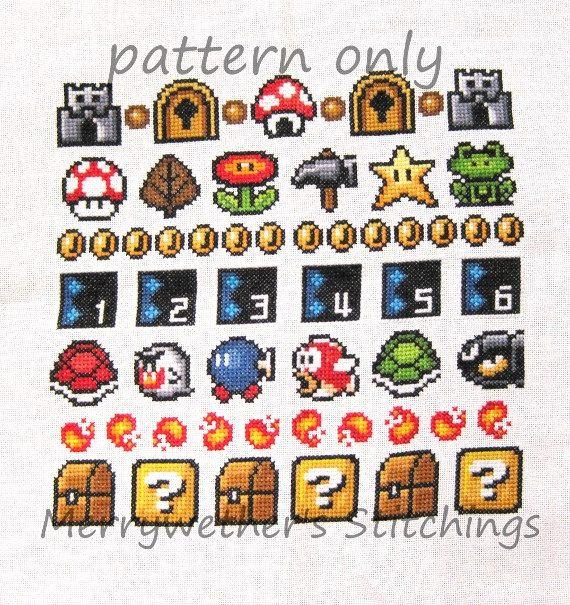 Super Mario 3 All Stars Band Sampler Cross Stitch - | Hama beads ...