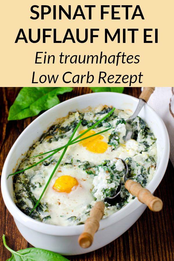 Schneller Low Carb Auflauf mit Spinat und Feta Käse - ein einfaches Low Carb Rezept für abends oder mittags. #vegetarisch #käse #abnehmen #gesund #rezept #diät #rezepte #abendessen #mittagessen #recettedeplat