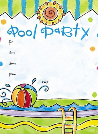 Free Online Pool Party Invitations | Kids Pools | Pinterest | Pool ...