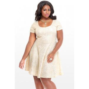 Plus size white fit and flare dress