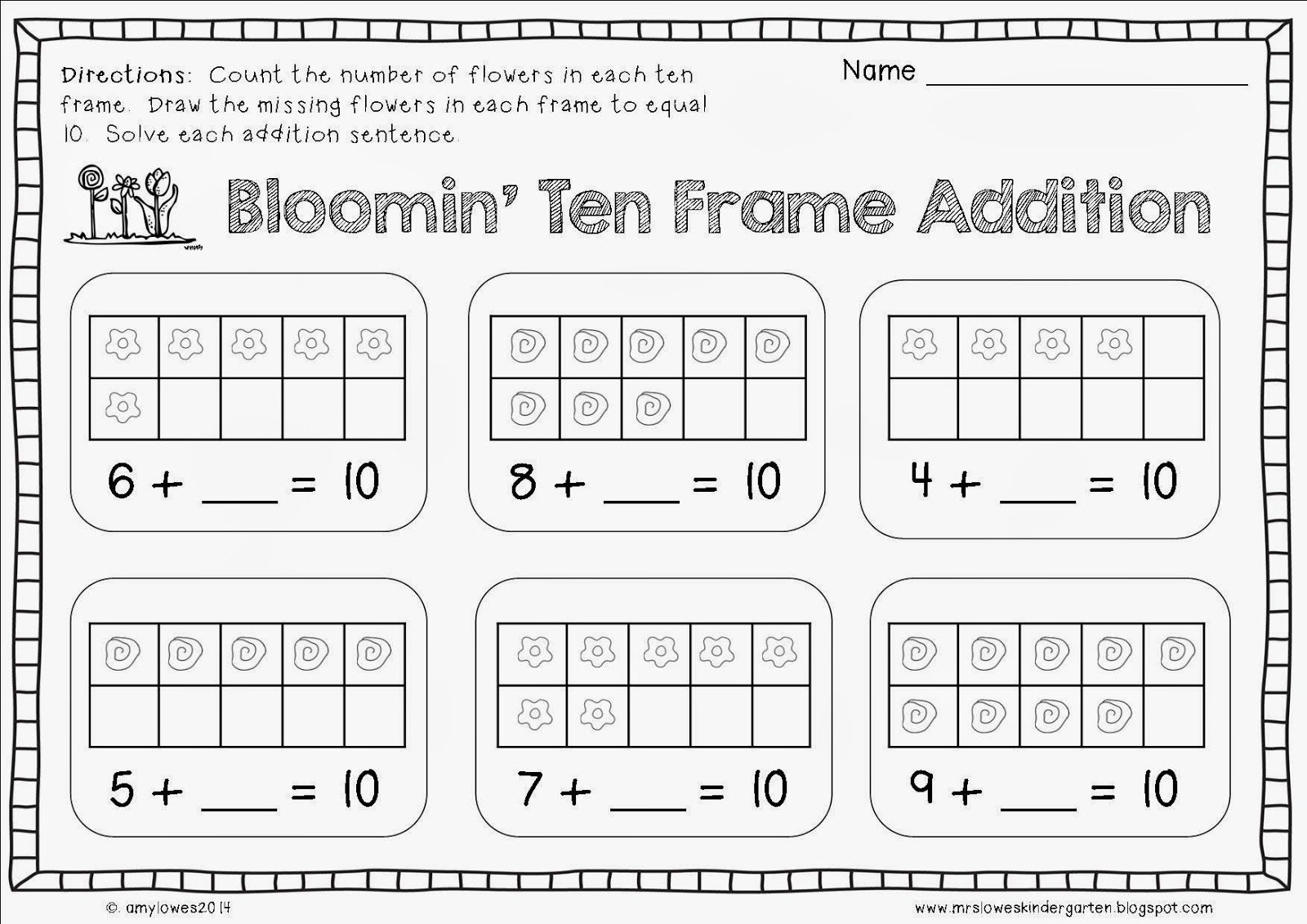 Bloomin Ten Frame Addition