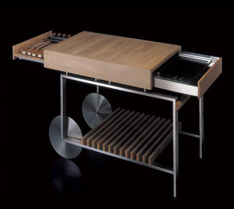 Movable Kitchen Island With Compact Barbeque From Gunni Mobile
