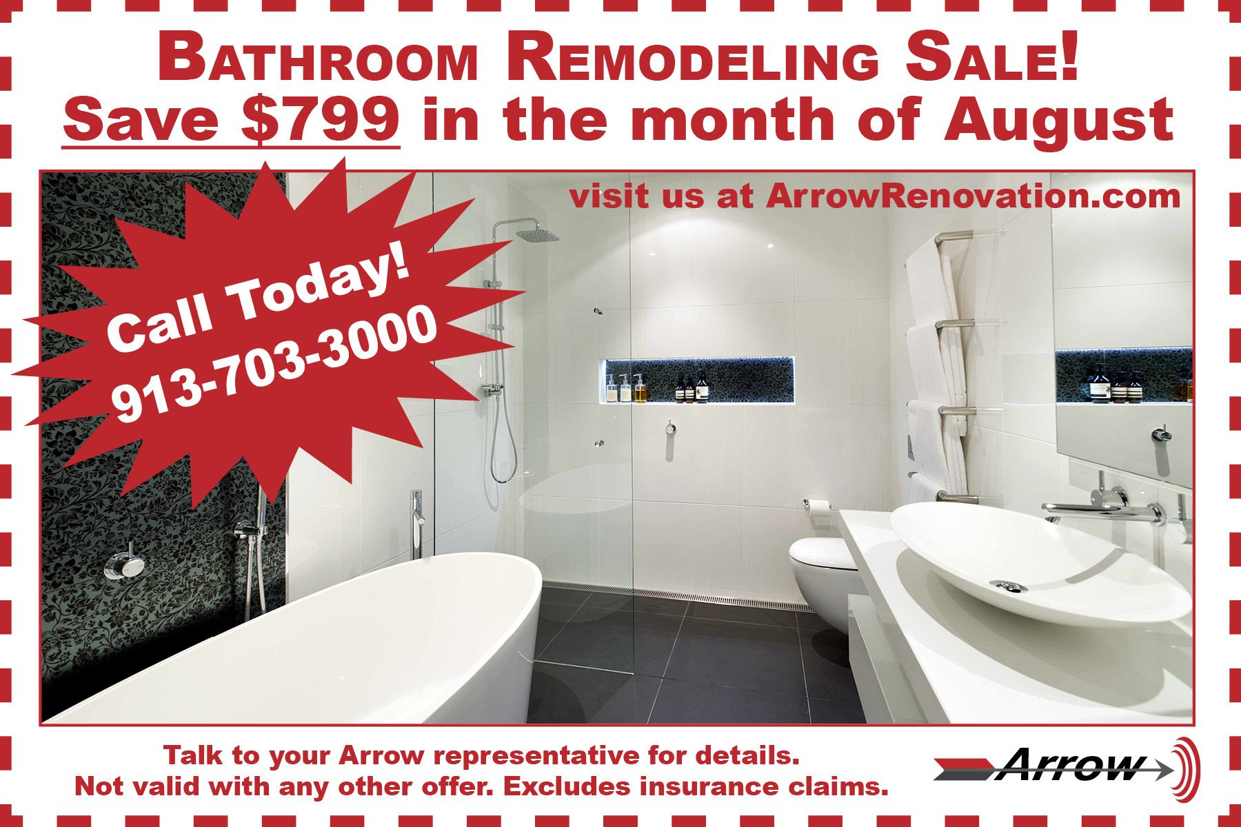 Bathroom Remodeling Sale Save 799 In The Month Of August Call Today 913 703 3000 Show Your Arrow Representative Print Coupons Bathrooms Remodel Remodel [ jpg ]
