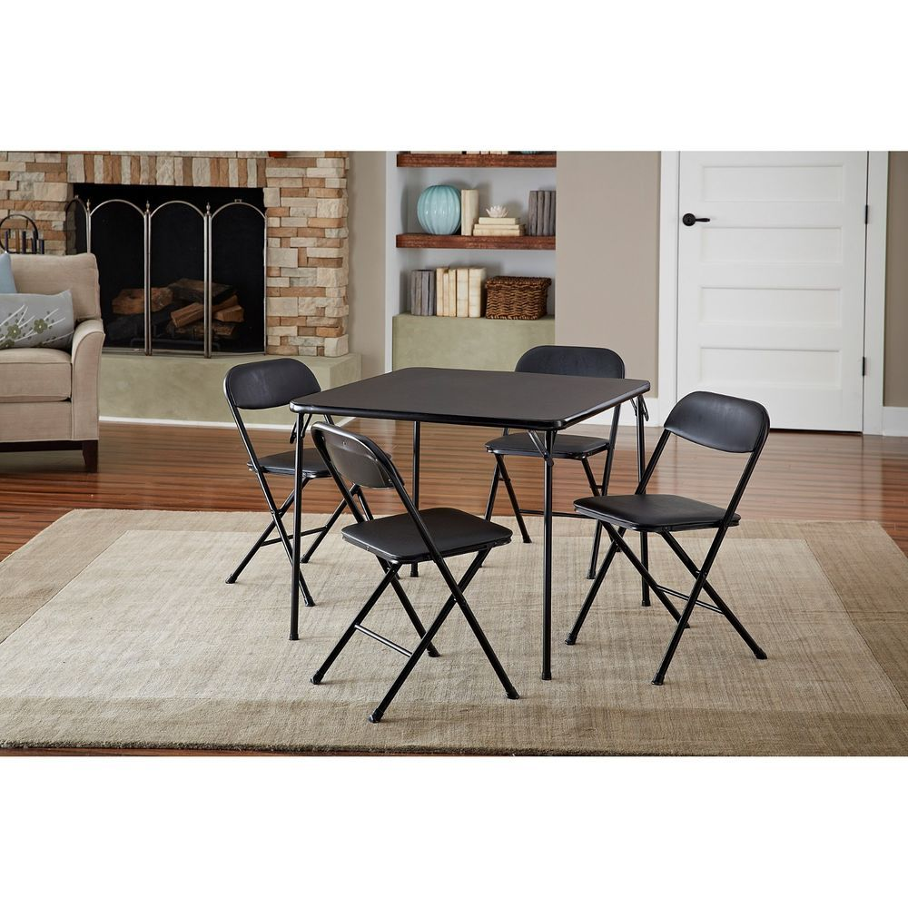 5pc foldable card table set chair seat dining furniture
