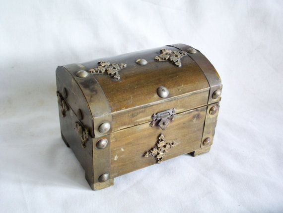 Decorative Box Hinges Ornamental Vintage Wooden Chest With Double Metal Hinges Latch