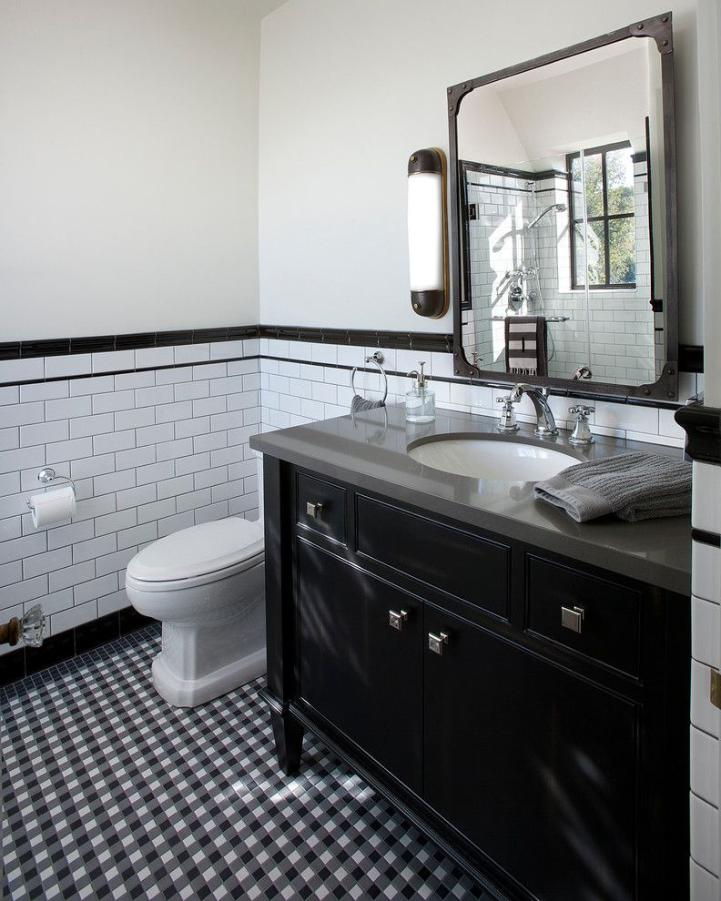 Superbe Elegant Industrial Wall Sconce In Bathroom Traditional With Metal Framed  Mirror Next To Tile Chair Rail