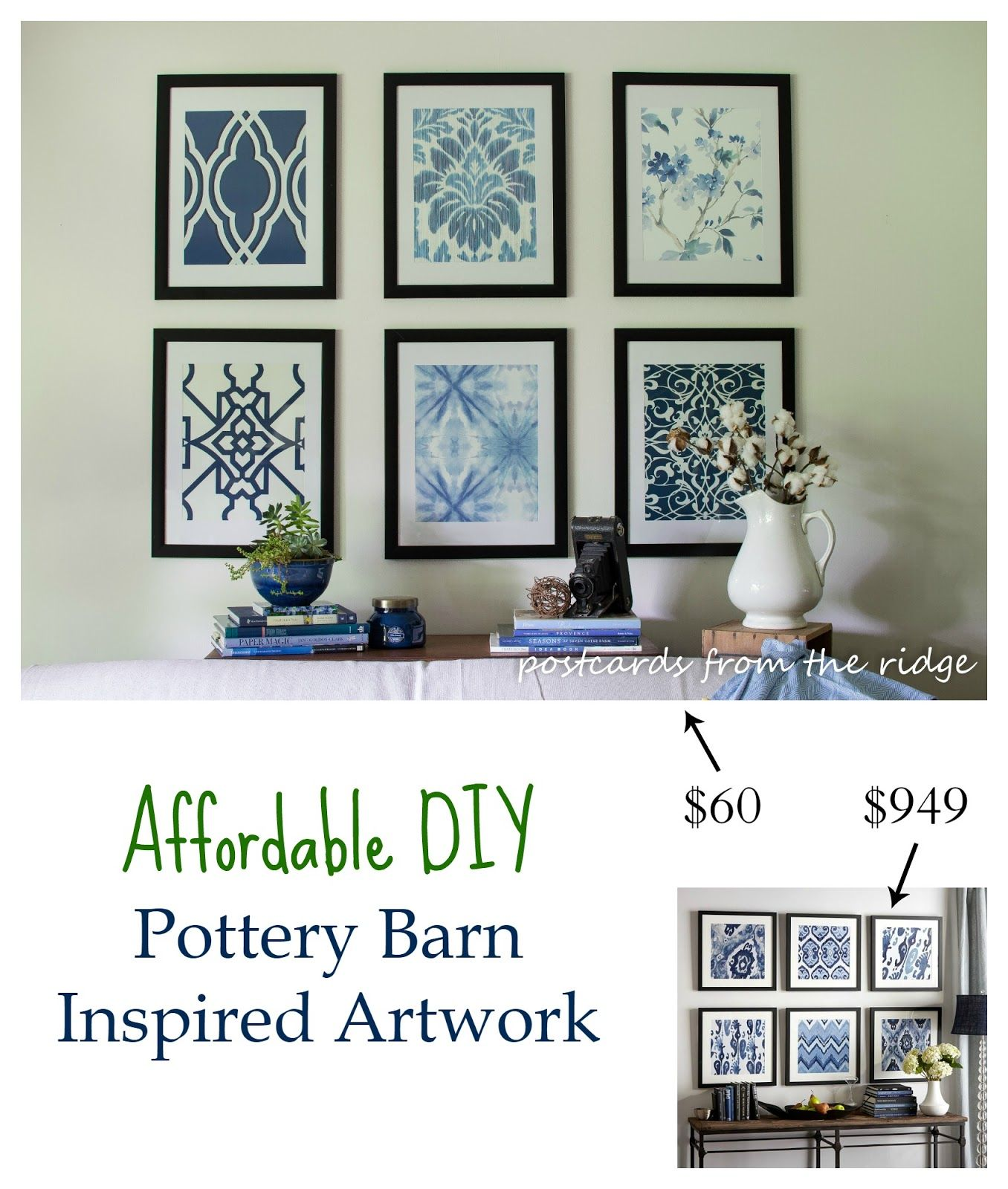 Bedrooms Pottery Barn Inspired: Affordable DIY Artwork Inspired By Pottery Barn
