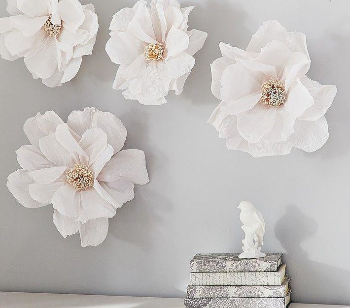 crepe paper flower d cor white paper flowers for infant. Black Bedroom Furniture Sets. Home Design Ideas