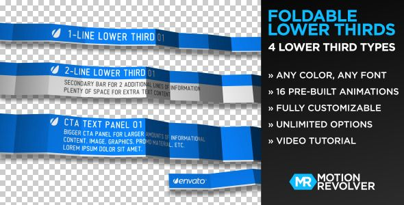 Foldable Lower Thirds Customizable After Effects Third Project Template For Video