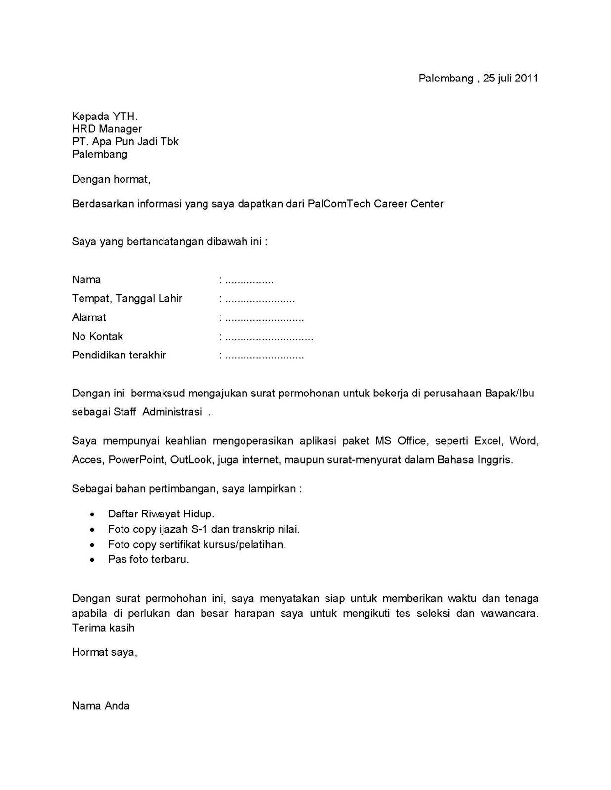 Surat Lamaran Kerja Pegadaian  ben jobs  Contoh Lamaran Kerja dan CV  Pinterest