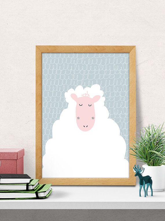Sheep Print Nursery Wall Art Decor Room