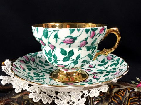 Rosina Chintz Teacup And Saucer Rare Gold Banded Floral