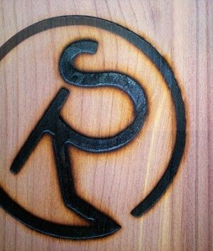 """texas-ranch-wedding-invitations-wood-veneer-brand -- instead of the black """"R"""" brand, maybe it could be a Texas star/shape brand in the color of deep purple..."""