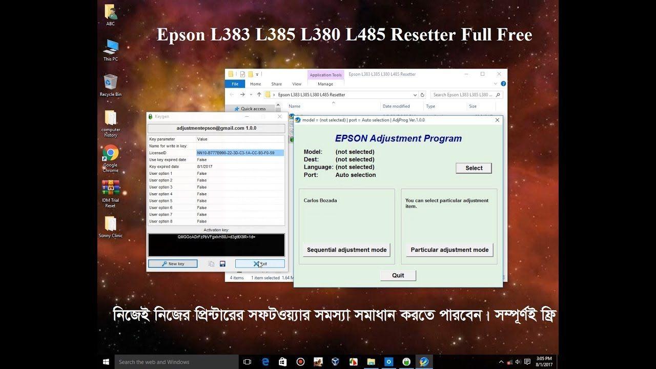 Epson L383 L385 L380 L485 Resetter or Adjustment Program