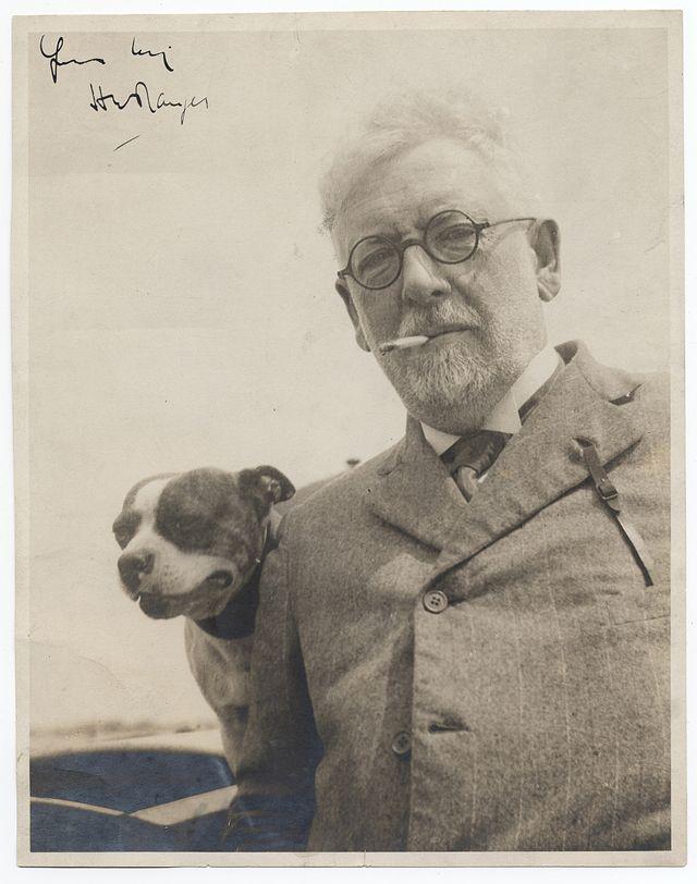 Landscape painter Henry Ward Ranger with his dog, 1908 vintage everyday