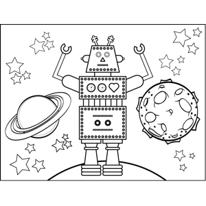 Robot And Planets Coloring Page Planet Coloring Pages Coloring Pages Kids Art Projects