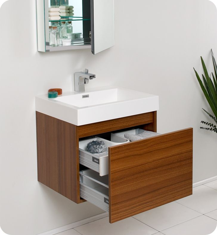 Configurationfresca Nano Teak Modern Bathroom Cabinet  Guest Alluring Small Space Bathroom Sinks Decorating Design