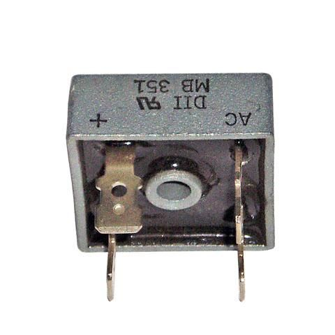 Single-phase silicon bridge rectifier. Voltage range 50 to 1000 Volts, current 35 Amperes.