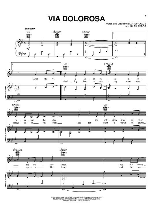 Via Dolorosa Sheet Music: www.onlinesheetmusic.com