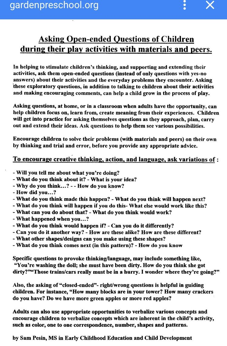 Open Ended Questions To Use In Early Childhood Education Class