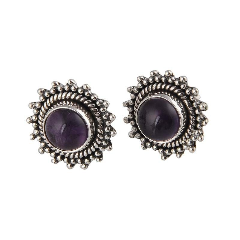 ANTIQUE 925 STERLING SILVER AMETHYST CAB 5.75g NEW STYLISH STUD JEWELLERY #DSJ #STUD