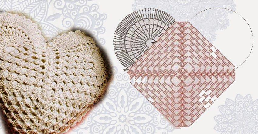 Relase: heart-shaped pillow crocheted - scheme